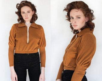 Nutmeg Fleece Lined Cropped Sweatshirt XS S M L XL XXL