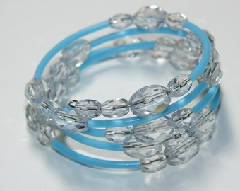 Memory Wire Handmade Bracelet in Ice Blue Glass Crystals - Bangle Handmade Bracelet