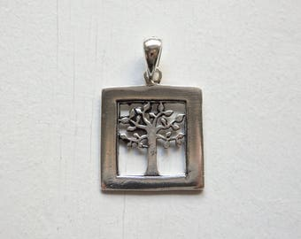 Sterling silver Tree of Life pendant - ONE framed tree of life silver pendant, 925 silver tree of life pendant, Thai silver tree pendant
