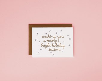 Merry and Bright Holiday / Letterpress Card