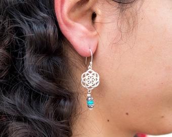 Silver Dangle Earrings // Drop Earrings // Mandala Earrings // Seed Of Life Earrings // 925 Sterling Silver // sacred geometry earrings