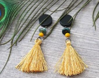 Clearance 50% Off Tassel Earrings,Yellow Earrings,Boho Earrings,Boho Jewelry,Bohemian Jewelry,Gypsy Jewelry,Dangle,Earrings Hooks,Egyptian