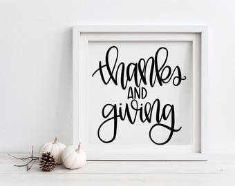 Thanks and Giving - Hand Lettered SVG