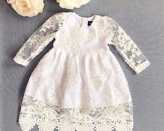 Eirene gorgeous lace baptismal dress, organic cotton christening dress, christening gown, lace baby girl's baptism gown, ivory church dress