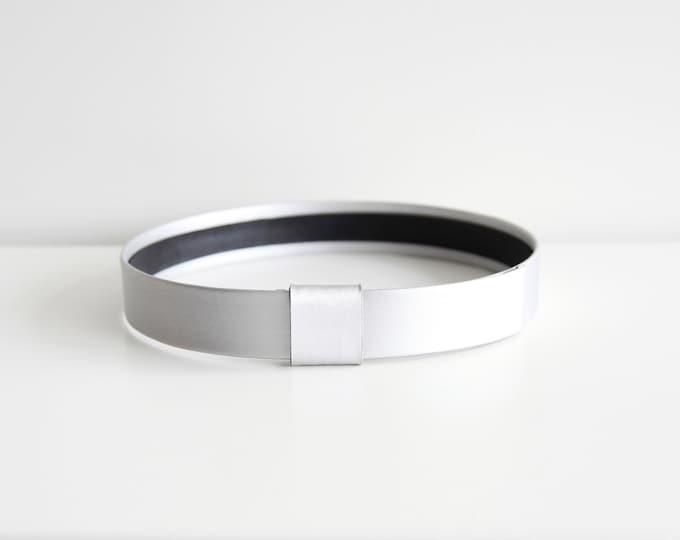 Featured listing image: Silver waist belt | Modern and minimalist leather look women's flat waist belt | Modern wedding belt | Silver vegan belt | Belt for dress