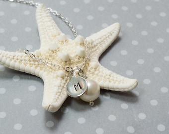 Initial pearl necklace, initial necklace, initial charm, pearl charm necklace, silver charm necklace, charm necklace, cute necklace