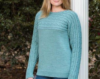PDF Knitting Pattern Sideways Cabled Yoke Pullover #192