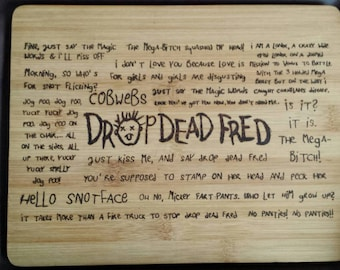 Hand drawn compact chopping board inspired by the late Rik Mayall