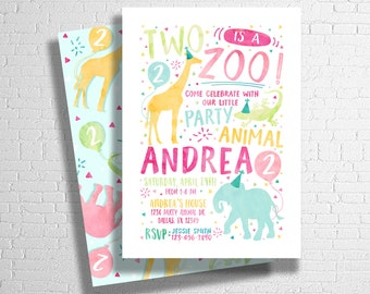 Two Is A Zoo Birthday Invitation | Party Animal Invitation | Zoo Animal Birthday Invitation | Wild Invitation | DIGITAL FILE ONLY