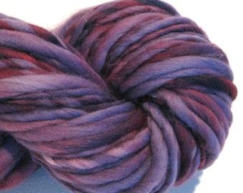 Handspun Yarn Almost Solid Purple 54 hand dyed merino wool waldorf doll hair knitting supplies crochet supplies