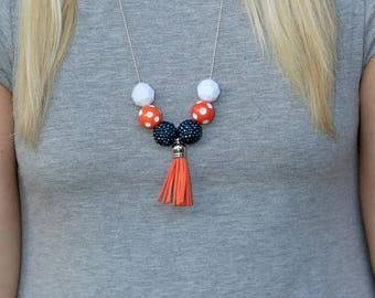 Game Day Necklace, Game Day, Blue and Orange Necklace, Blue and Orange Jewelry, College Necklaces, College Jewelry, University Necklaces