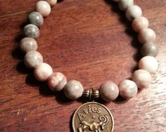 Zodiac Aries symbol gemstone bracelet