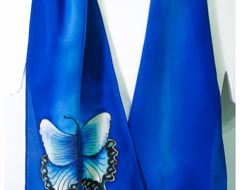 """Butterfly Silk Scarf. Hand painted silk scarf. 10""""x58"""" crepe. Blue silk scarf. Swallowtail Butterfly silk scarf. Hand painted silk scarves"""