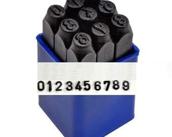 "Individual numbers for sale, 0-8 , Sans Serif Metal Numbers Stamp Set 1/16"" Economy Steel Stamps 1.5mm San Serif"
