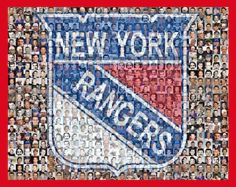 NY Rangers Mosaic Print Art Designed Using Over 80 Past and Present New York Ranger Player Photos. Free Shipping