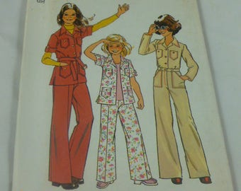 "7034 Size 14 Girl Simplicity Pattern Breast 32"" Girls Shirt Jacket and Pants Vintage 1975 Pattern Uncut"