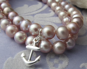 Rosy - pink round fresh water pearl double strand bracelet