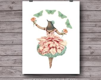 Bird Dancer, pink mint green feminine collage printable, girls room, nursery botanical home decor, ballet, instant download whimsical art