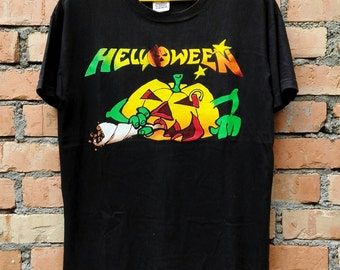 Rare!!!Vintage 90s Helloween Heavy Metal Band Rock T Shirt