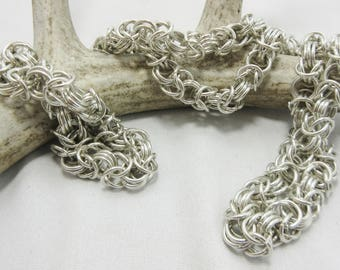 """Byzantine Necklace, Sterling Silver, Silver Necklace, Silver Chain, 32"""" Necklace, Byzantine Jewelry, Vintage Jewelry, Chainmaille Chain #48"""