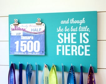 Running Medal Bib Holder And though she be but little - Medal Holder, Medal Rack, Medal Display, Race Bib Display, Race Bib Holder
