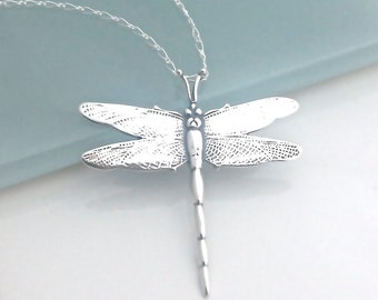 Silver Dragonfly Valentines Necklace, Sterling Silver Dragon Fly Jewelry, Graduation Gift, Large Dragonfly Pendant,Necklaces for Women,S0031