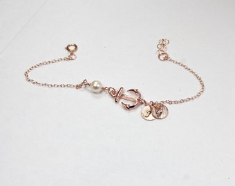 Sailor Nautical Bracelet Set, Nautical Bracelets, Anchor, Rose Gold Stack Bracelets,beach wedding bracelets, Ocean Jewelry, Nautical Jewelry