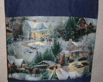 New Large Handmade Christmas Light Village Snow Holiday Denim Tote Bag