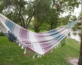 Multicolor Hammock Hand-Woven Natural Cotton, Handmade Hammock Indoor Outdoor, Natural Cotton, Single Size Traditional Hammock , Soft Cotton