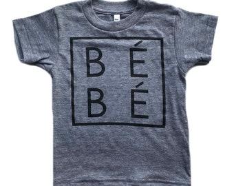 BÉBÉ Child T-Shirt // Baby Infant // French Word // Unisex Modern Kid's Clothing // Monochrome // Tri-blend Grey Tee