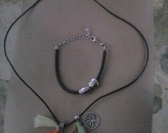 Cord Necklace with Removable Charms Bonus Bracelet