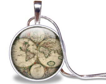 World map necklace etsy uk vintage world map necklace world map pendant map jewelry vintage map necklace gumiabroncs Gallery
