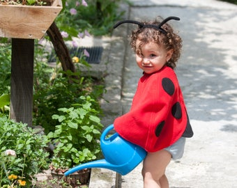 Toddler Girl Halloween Costume, Ladybug Costume, Red Cape Costume, Ladybird Costume, Red Polar Fleece