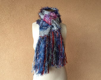 Chunky Knit Scarf, Warm Scarf, Sweater Scarf, Hand Knit Winter Scarf with Fringe in Grey, Blue, Purple, Red and Green Crickets Scarf