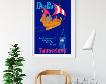 Disneyland Poster, Vintage Peter Pan Fantasyland Attraction Poster, Nursery Art, Kids Playroom, Art Print, Home Decor, Wall Art, Not Framed