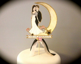 Wedding Cake Topper - Personalized - Portrait - Custom Illustrated - Hand Painted