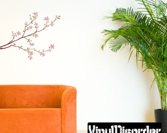 Floral Tree Branch Wall Decal - Wall Fabric - Vinyl Decal - Removable and Reusable - FloralBranchUScolor002ET