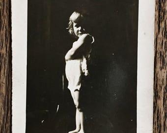 Original Vintage Photograph Little Girl on the Dark