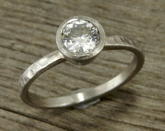 Moissanite Engagement Ring in 950 Palladium - Wedding Ring - Hammered, Matte/Textured - Eco-Friendly, Conflict-Free - Made To Order