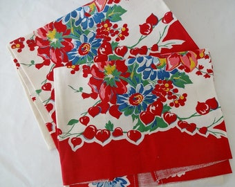 Pair Floral Kitchen Towels 1940s - Bleeding Hearts