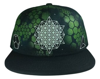 Building Blocks- FITTED - Glow in the dark- hand printed and airbrushed  hat