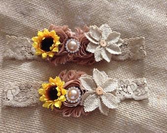Sunflower Couture Country Rustic Bridal Burlap garter set-lace garter,plus size garter,throw garter