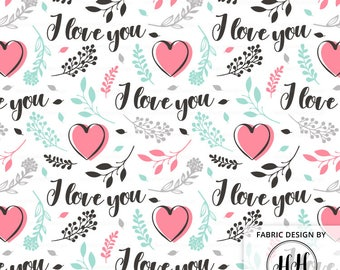 Valentine's Love Fabric by the Yard / Valentine's Day Floral Fabric / Quilting Cotton Fabric / I Love You Heart Print in Yard & Fat Quarter