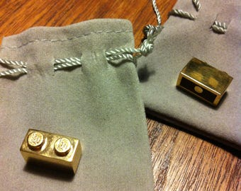 A Gold Plated Solid Sterling Silver Lego Brick! - Made by Buckle My Shoe Vintage - **Made to Order**