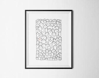 Poster love, houses, posters Scandinavian design, printable, black and white, minimal