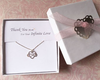 Thank You Mom for your Infinite Love, Heart Infinity Necklace, Infinity Necklace, Mother, Necklace, Wedding, Gift, Box, LIJ15027-2