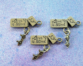 Love is Blind w/ dangling sunglasses--4 pieces-(Antique Pewter Silver Finish)--style 944-