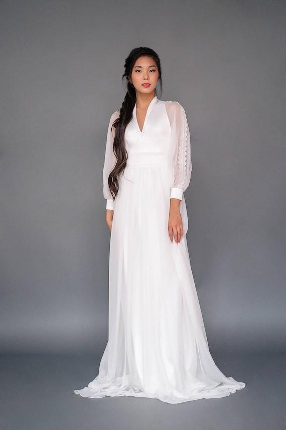 Probe Verkauf US2 bescheidenen Brautkleid mit Glocke Ärmel