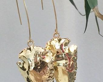 Earrings long gold spikes Spears