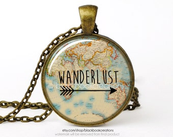 Wanderlust Vintage Map Necklace -  Handmade - Bronze